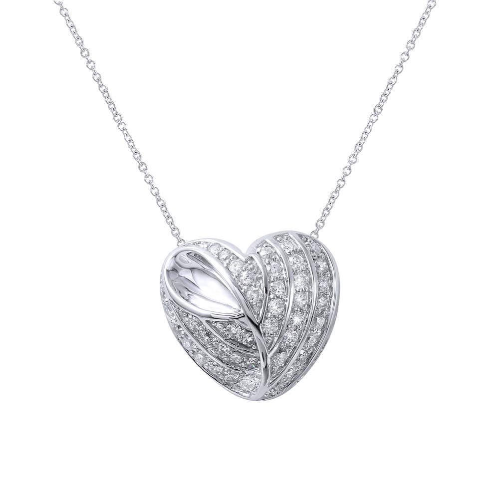 0.71 CTW Diamond Necklace 18K White Gold - REF-107X6R