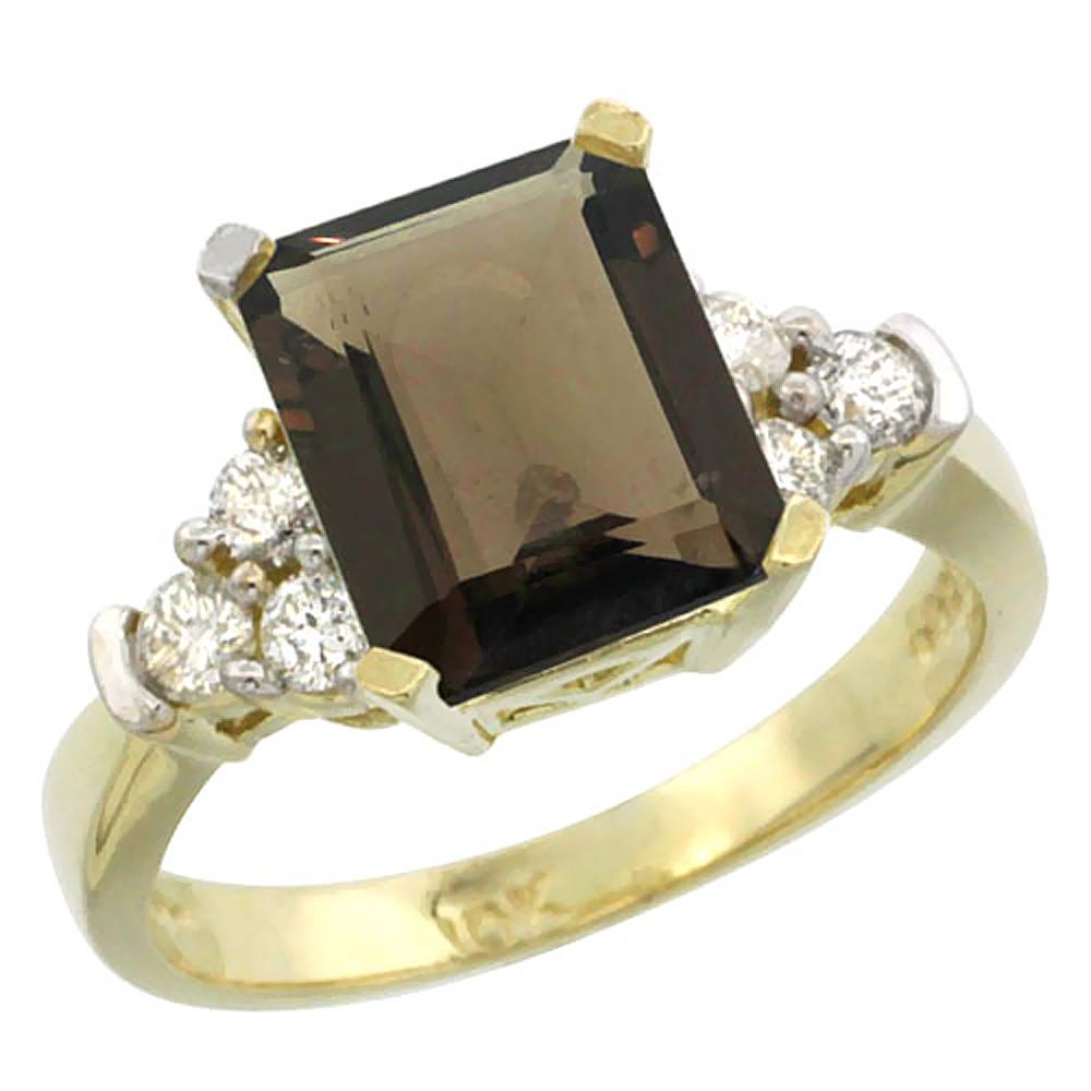 Natural 2.86 ctw smoky-topaz & Diamond Engagement Ring 14K Yellow Gold - REF-65G2M