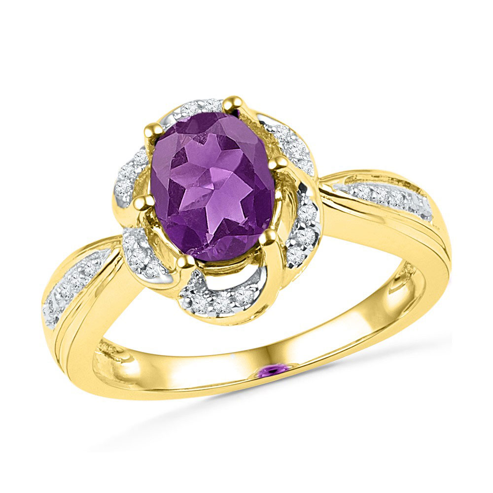 1.73 CTW Oval Created Amethyst Solitaire Diamond Ring 10KT Yellow Gold - REF-26K9W