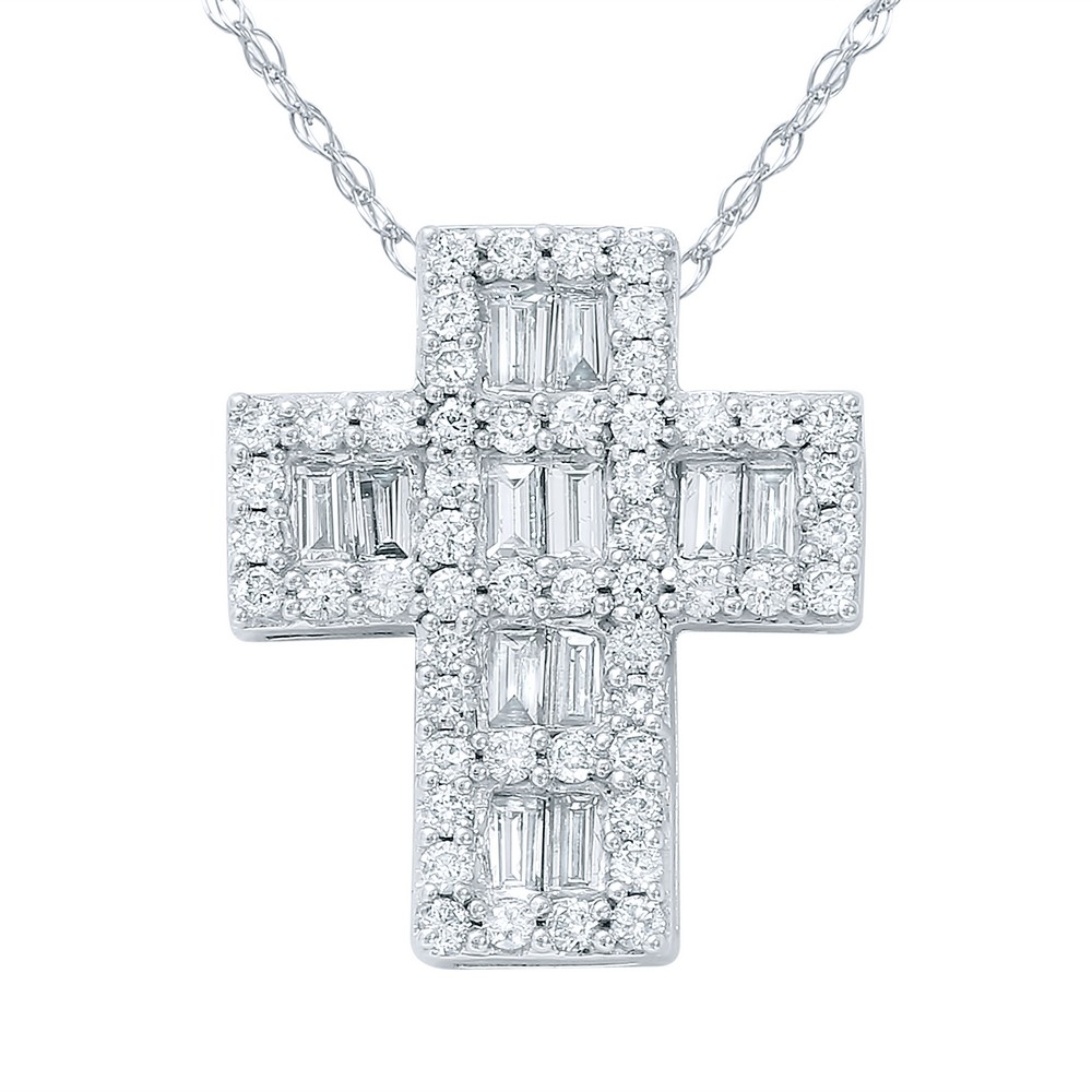 1 CTW Diamond Necklace 14K White Gold - REF-98R6K