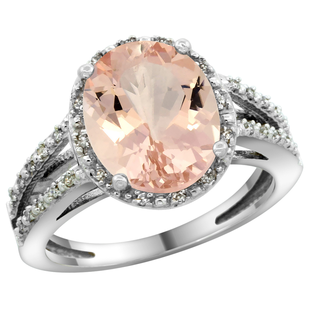 Natural 3.09 ctw Morganite & Diamond Engagement Ring 10K White Gold - REF-66F4N