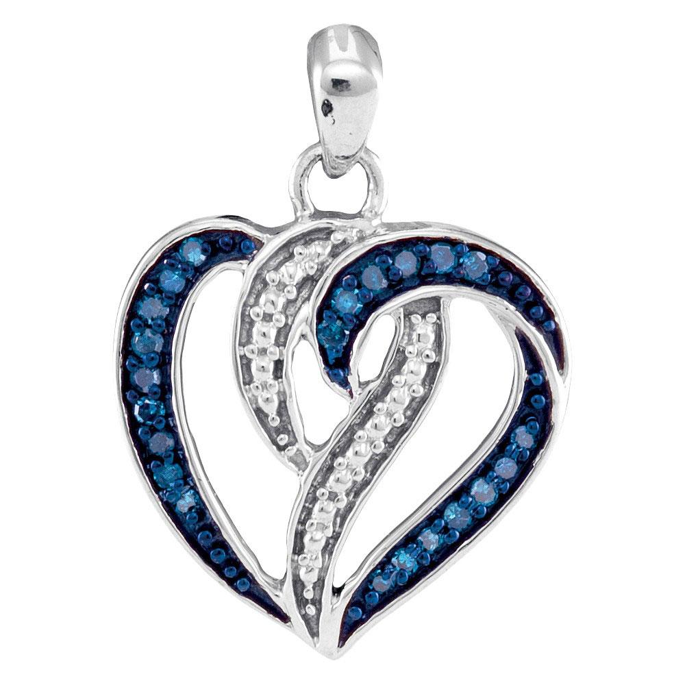 0.15 CTW Blue Color Diamond Heart Pendant 10KT White Gold - REF-14Y9X