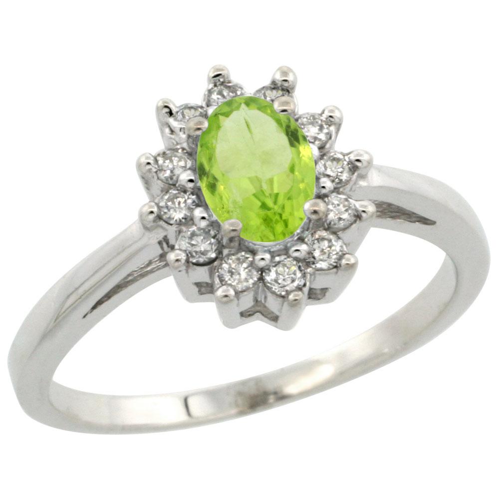 Natural 0.67 ctw Peridot & Diamond Engagement Ring 10K White Gold - REF-38W8K