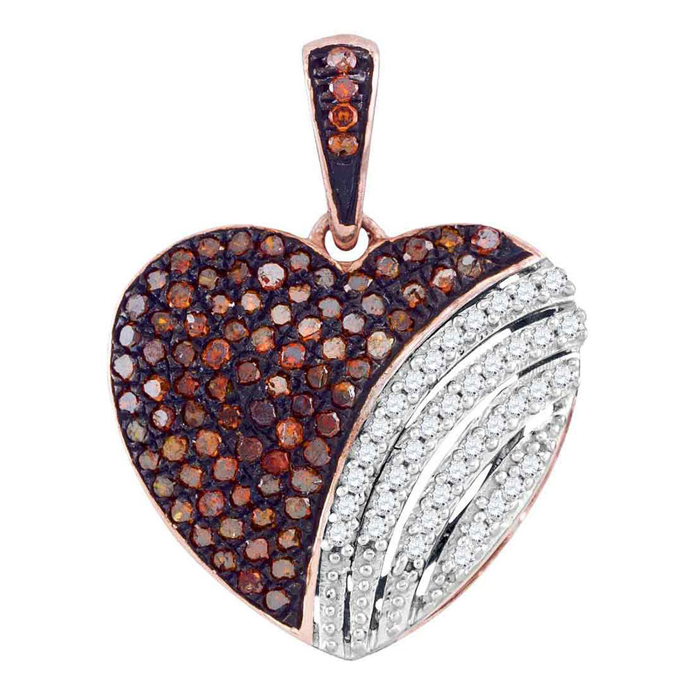 0.33 CTW Red Color Diamond Heart Love Pendant 10KT Rose Gold - REF-30X2Y