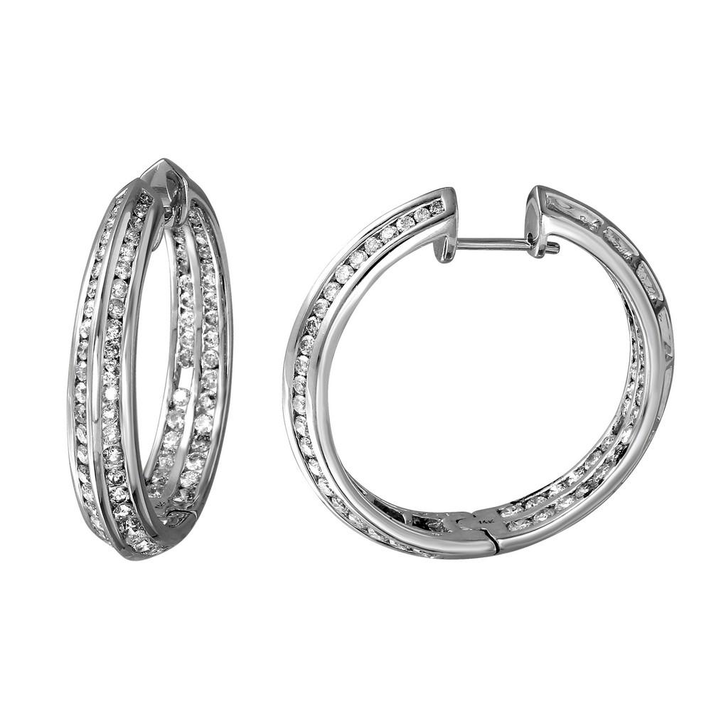 3.09 CTW Diamond Earrings 14K White Gold - REF-213M3F