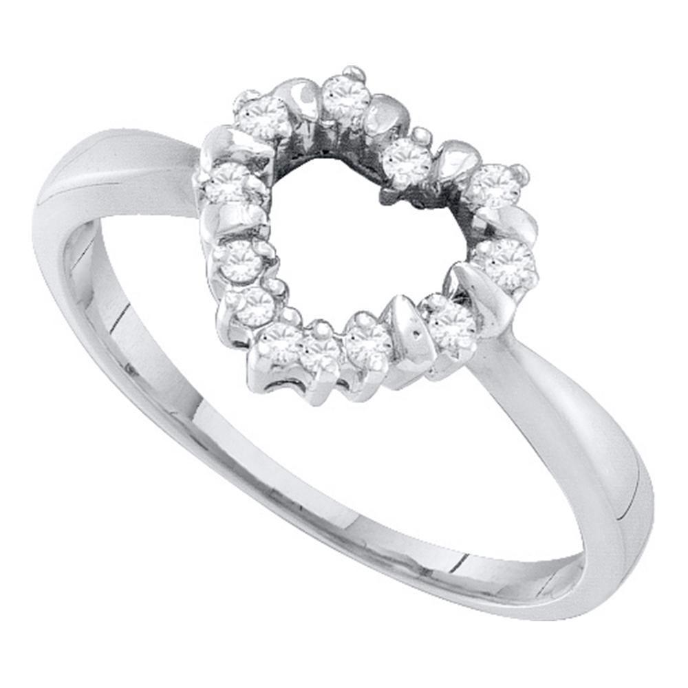 0.10 CTW Diamond Heart Outline Ring 10KT White Gold - REF-12K2W