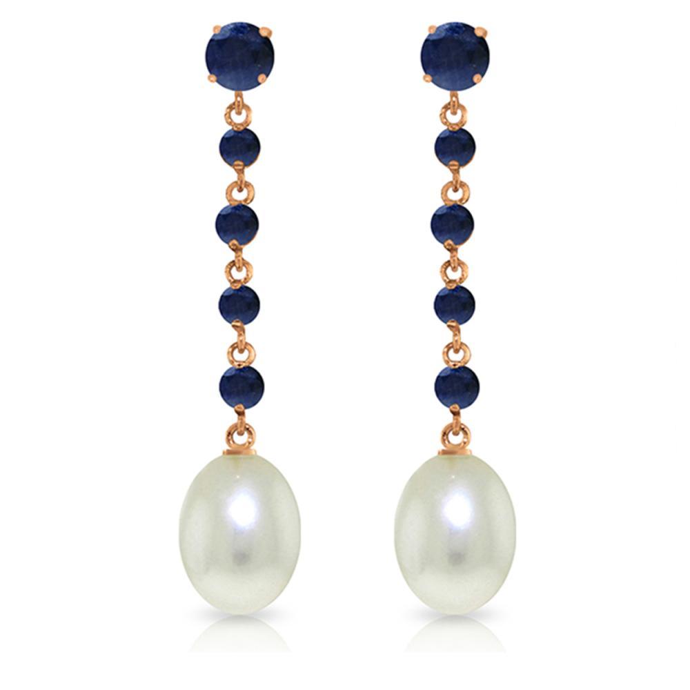 Genuine 10 ctw Sapphire & Pearl Earrings Jewelry 14KT Rose Gold - REF-37M8T
