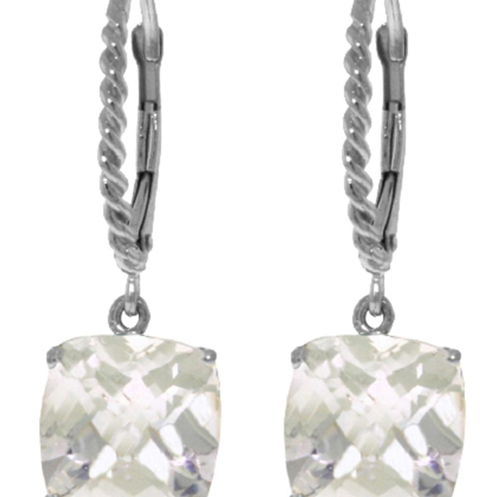 Genuine 7.2 ctw White Topaz Earrings Jewelry 14KT White Gold - REF-48R3P