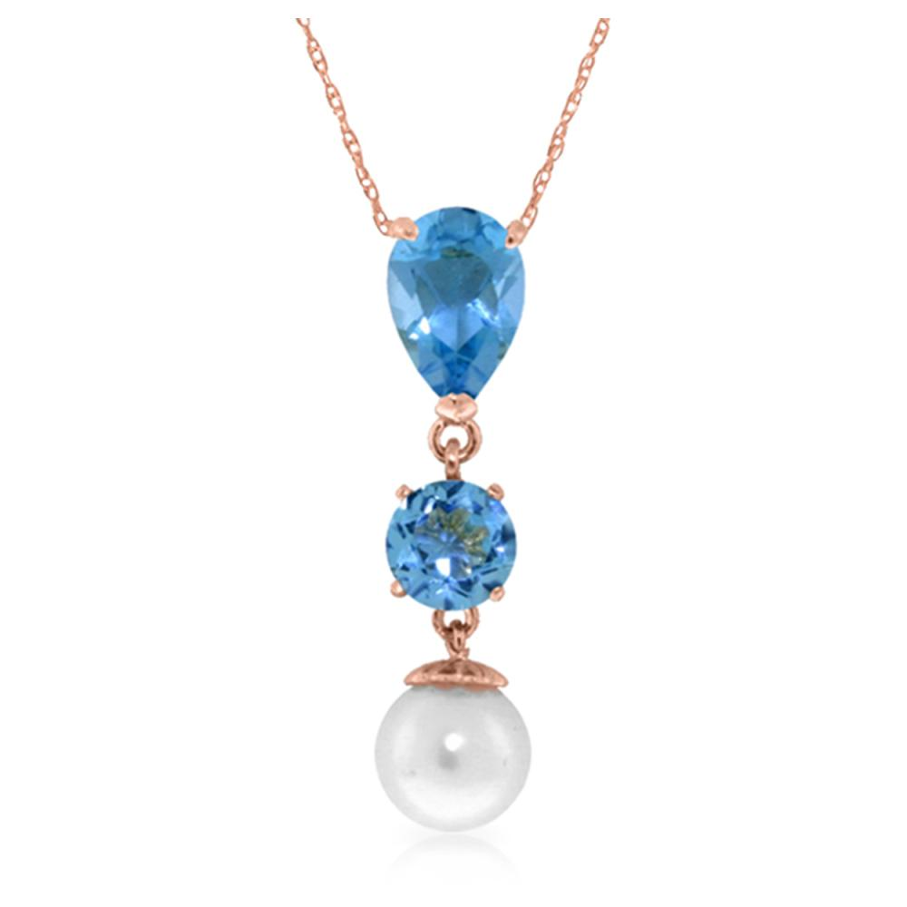 Genuine 5.25 ctw Blue Topaz & Pearl Necklace Jewelry 14KT Rose Gold - REF-25T9A