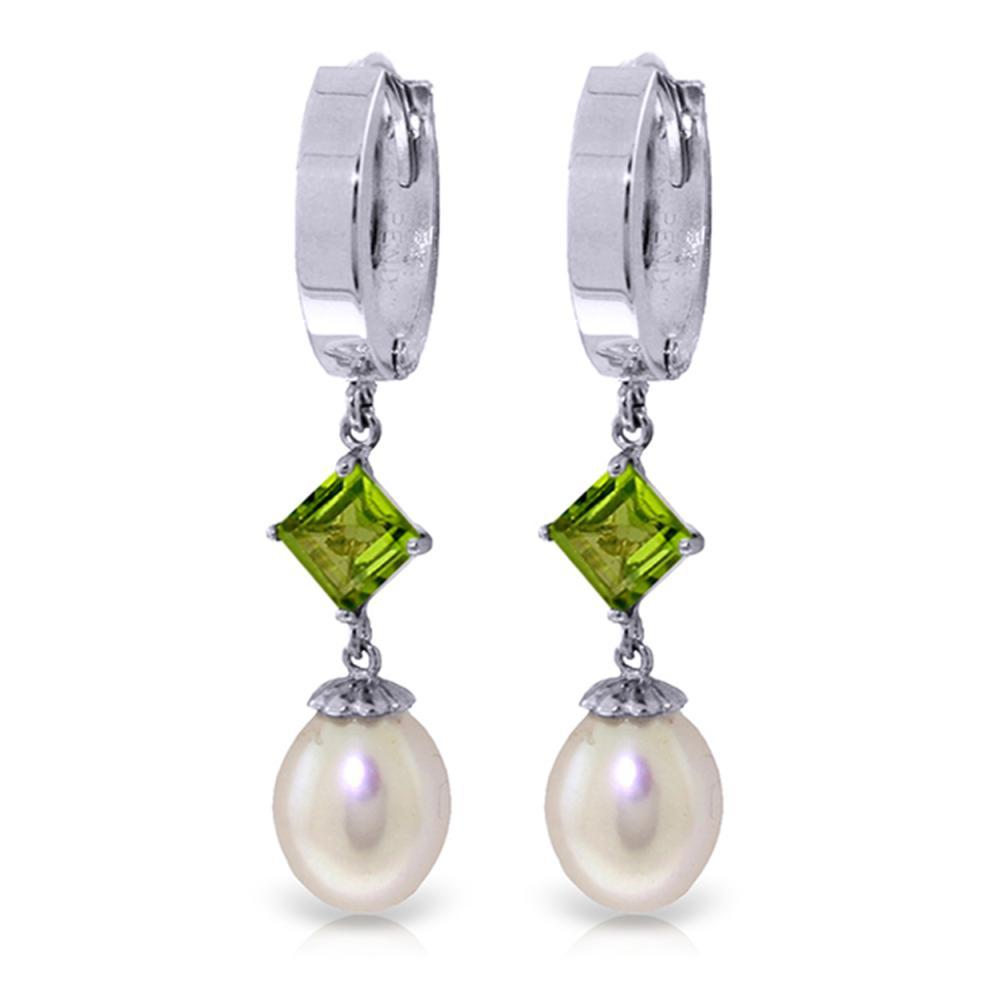 Genuine 9.5 ctw Pearl & Peridot Earrings Jewelry 14KT White Gold - REF-53R2P