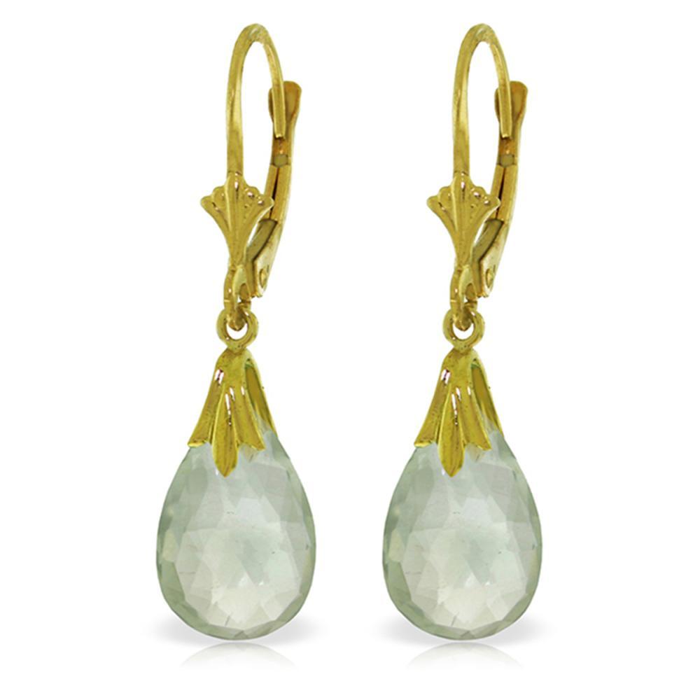Genuine 6 ctw Green Amethyst Earrings Jewelry 14KT White Gold - REF-27A8K