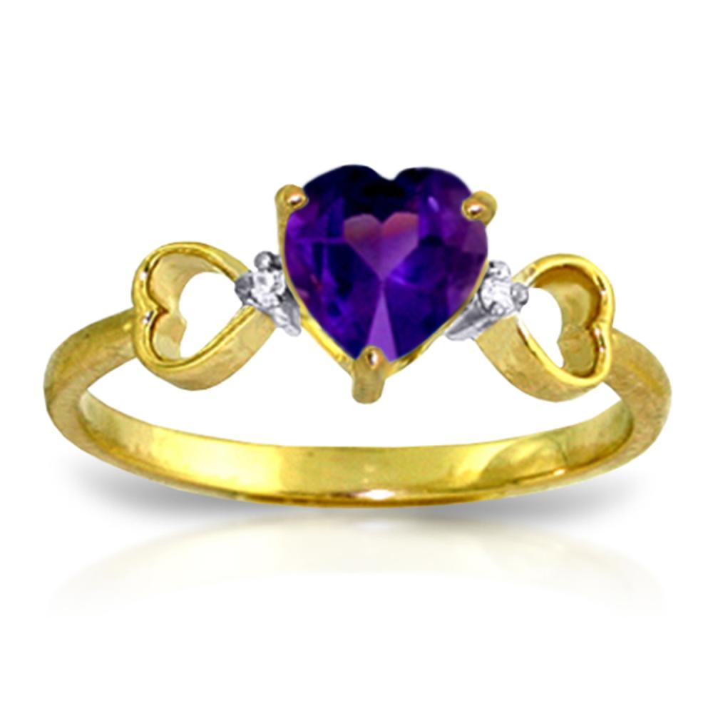 Genuine 0.96 ctw Amethyst & Diamond Ring Jewelry 14KT Yellow Gold - REF-41R4P