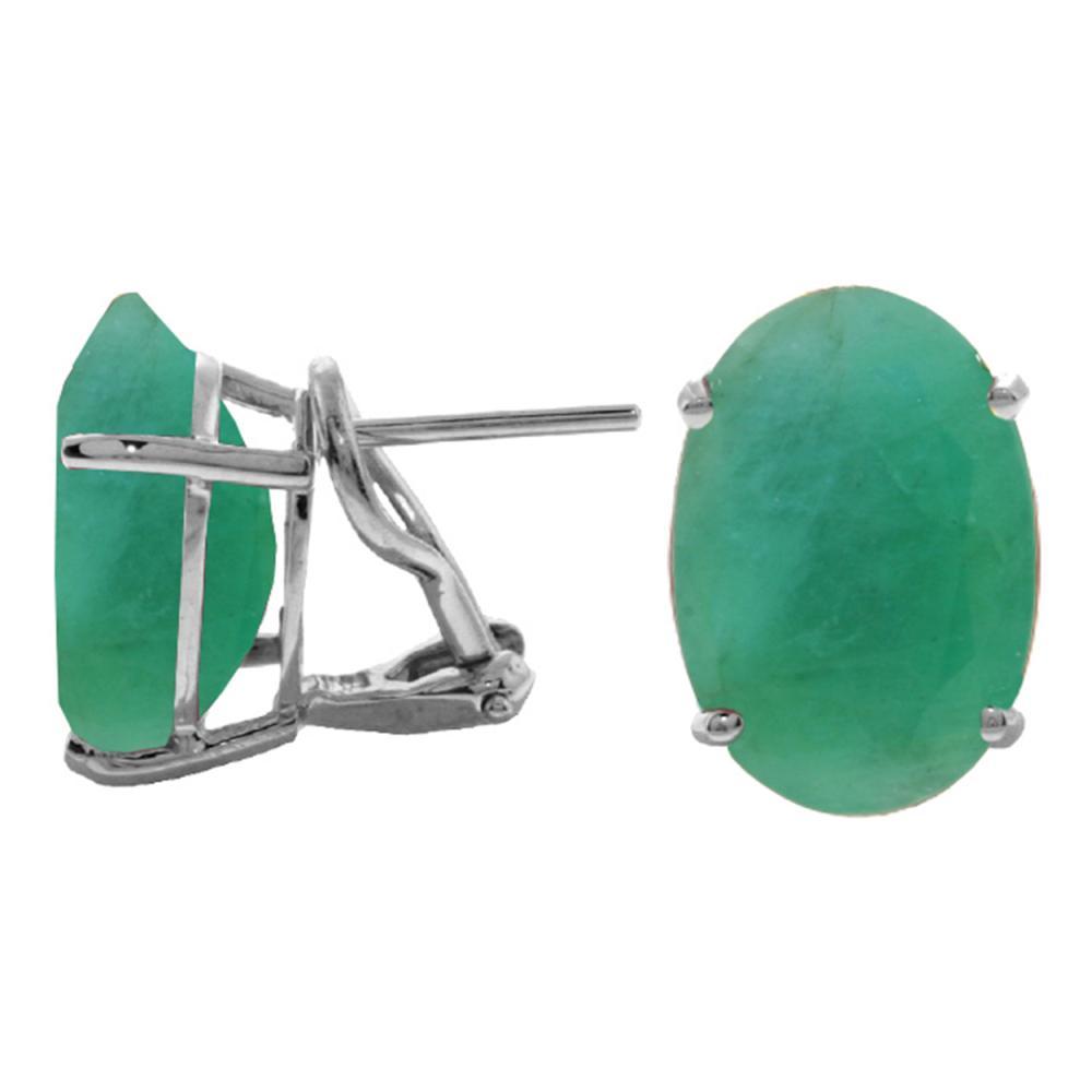 Genuine 13 ctw Emerald Earrings Jewelry 14KT White Gold - REF-160N9R