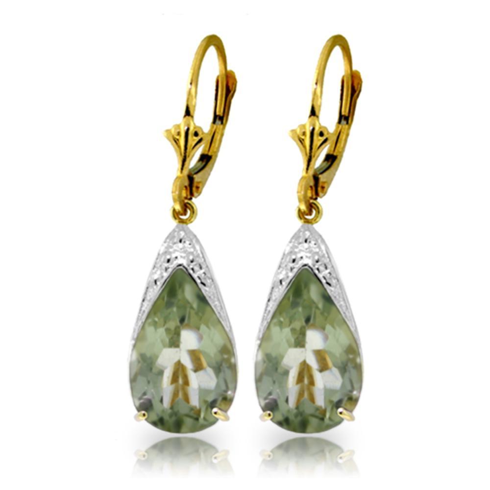 Genuine 10 ctw Green Amethyst Earrings Jewelry 14KT Yellow Gold - REF-55Y5F