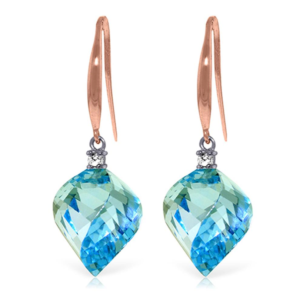 Genuine 27.9 ctw Blue Topaz & Diamond Earrings Jewelry 14KT Rose Gold - REF-81H5X