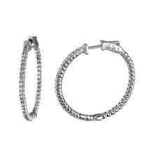 1.54 CTW Diamond & Hoop Earring 14K White Gold - REF-153M3H