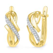 0.08 CTW Diamond Bypass Crossover Hoop Earrings 10KT Yellow Gold - REF-22K4W