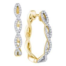 0.50 CTW Diamond Hoop Earrings 10KT Yellow Gold - REF-49N5F