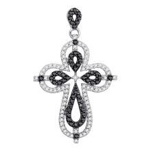 0.54 CTW Black Color Diamond Cross Faith Pendant 10KT White Gold - REF-26K9W