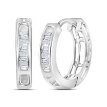 0.15 CTW Diamond Huggie Hoop Earrings 10KT White Gold - REF-10H5M