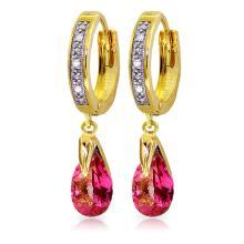 Genuine 2.53 ctw Pink Topaz & Diamond Earrings Jewelry 14KT Yellow Gold - REF-58Z7N