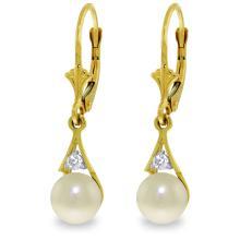 Genuine 4.06 ctw Pearl & Diamond Earrings Jewelry 14KT Yellow Gold - REF-40Z5N