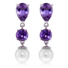 Genuine 10.50 ctw Amethyst & Pearl Earrings Jewelry 14KT White Gold - REF-40Y9F