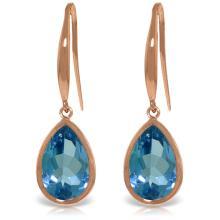 Genuine 5 ctw Blue Topaz Earrings Jewelry 14KT Rose Gold - REF-35N2R