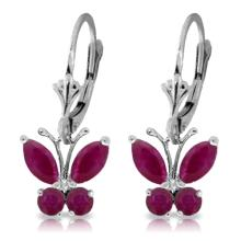 Genuine 1.24 ctw Ruby Earrings Jewelry 14KT White Gold - REF-41Z6N