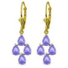 Genuine 4.5 ctw Tanzanite Earrings Jewelry 14KT Yellow Gold - REF-63V2W