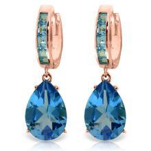 Genuine 13.2 ctw Blue Topaz Earrings Jewelry 14KT Rose Gold - REF-68W7Y