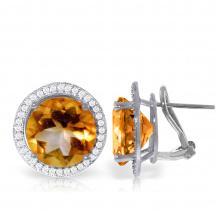 Genuine 12.4 ctw Citrine & Diamond Earrings Jewelry 14KT White Gold - REF-120Y5F