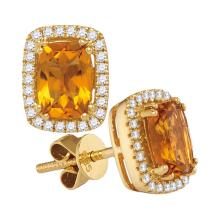 0.22 CTW Cushion Citrine Solitaire Diamond Earrings 14KT White Gold - REF-64F4N