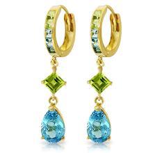 Genuine 5.37 ctw Blue Topaz & Peridot Earrings Jewelry 14KT Yellow Gold - REF-62R3P