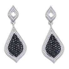 2.15 CTW Black Color Diamond Dangle Earrings 10KT White Gold - REF-82M4H