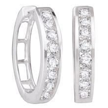 0.50 CTW Diamond Single Row Hoop Earrings 10KT White Gold - REF-49H5M