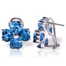 Genuine 7.6 ctw Blue Topaz Earrings Jewelry 14KT White Gold - REF-80T6A