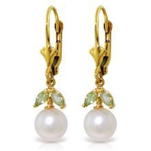 Genuine 4.4 ctw Pearl & Peridot Earrings Jewelry 14KT Yellow Gold - REF-20N4R