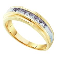 0.25 CTW Mens Diamond Single Row Wedding Ring 10KT Two-tone Gold - REF-46F4N