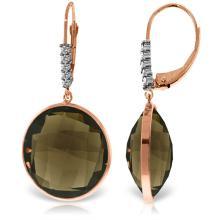 Genuine 34.15 ctw Smoky Quartz & Diamond Earrings Jewelry 14KT Rose Gold - REF-63Y4F