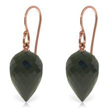 Genuine 24.5 ctw Black Spinel Earrings Jewelry 14KT Rose Gold - REF-26F2Z