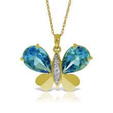 Genuine 9.1 ctw Blue Topaz & Diamond Necklace Jewelry 14KT Yellow Gold - REF-128W2Y