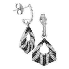 0.50 CTW Black Color Diamond Dangle Earrings 10KT White Gold - REF-53X9Y