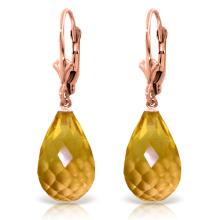 Genuine 14 ctw Citrine Earrings Jewelry 14KT Rose Gold - REF-28V5W
