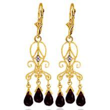 Genuine 6.31 ctw Garnet & Diamond Earrings Jewelry 14KT Yellow Gold - REF-34M6T