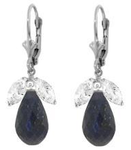 Genuine 18.6 ctw White Topaz & Sapphire Earrings Jewelry 14KT White Gold - REF-46W7Y