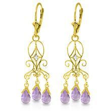 Genuine 4.81 ctw Amethyst & Diamond Earrings Jewelry 14KT Yellow Gold - REF-46K7V