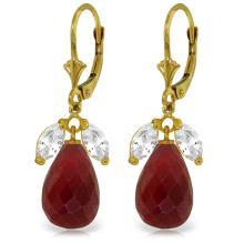 Genuine 18.6 ctw White Topaz & Ruby Earrings Jewelry 14KT Yellow Gold - REF-46V7W
