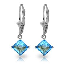 Genuine 3.2 ctw Blue Topaz Earrings Jewelry 14KT White Gold - REF-30K2V