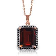 Genuine 7.7 ctw Garnet & Black Diamond Necklace Jewelry 14KT Rose Gold - REF-70P2H